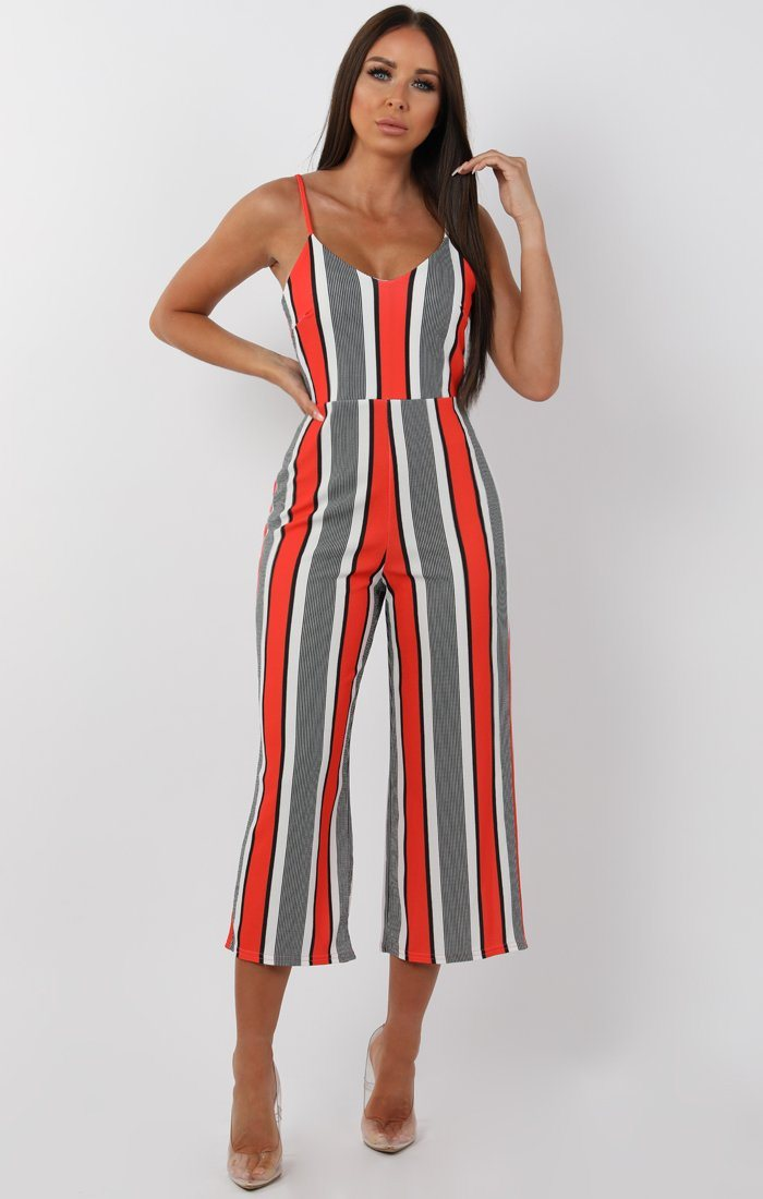 Orange cropped stripy jumpsuit - Andria