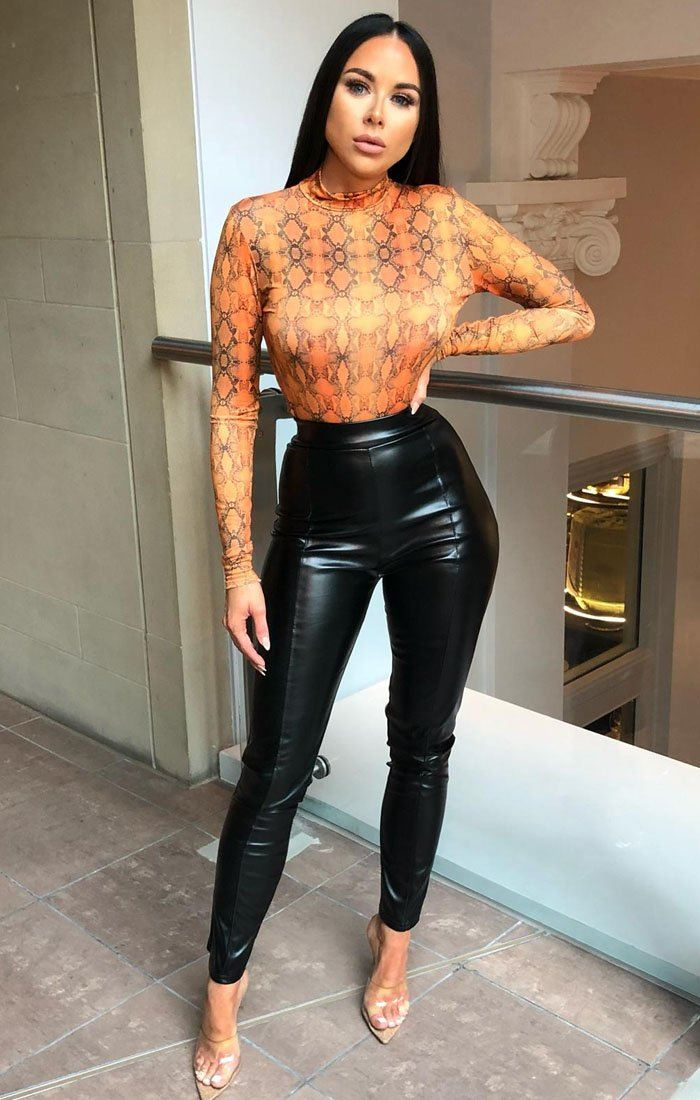 Orange Animal Snake Print Slinky Bodysuit - Bernardette