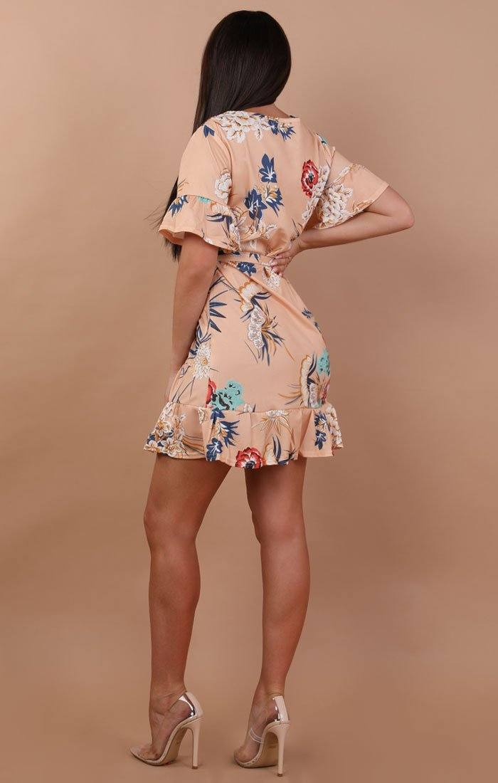 Peach Floral Frill Belted Tea Dress - Carly