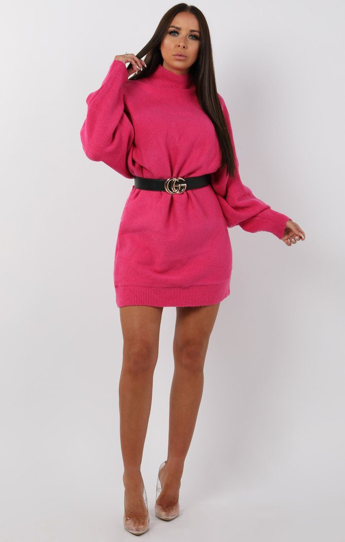 Pink Chunky Knit High Neck Jumper Dress - Clara