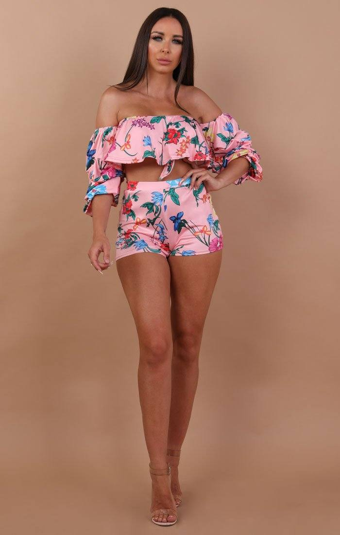 Pink Floral Bardot Two Piece Co-ord Set - Hannah