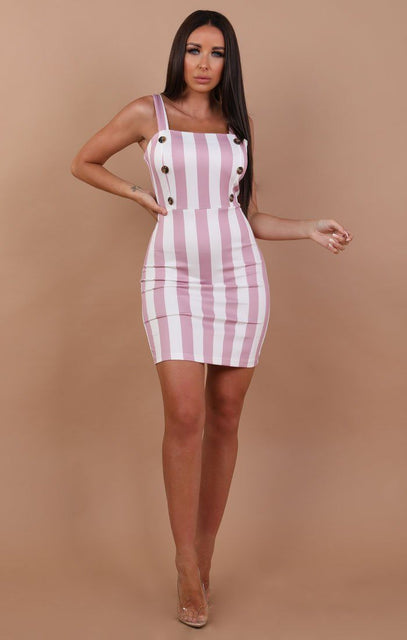 Pink and white stripe Button Mini Dress - Kara