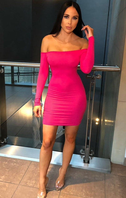 Pink Bardot Bodycon Dress - Montana