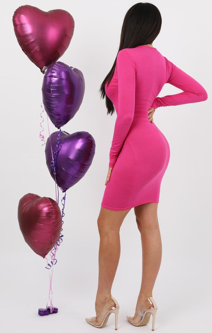 Pink Long Sleeve Bodycon Dress - Michelle