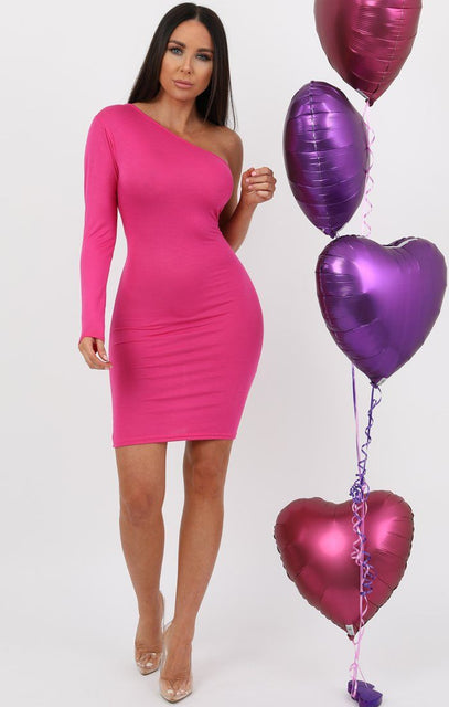 Pink One Shoulder Bodycon Dress - Rosa