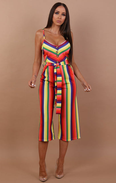 Striped Belted Culotte Jumpsuit - Kiara