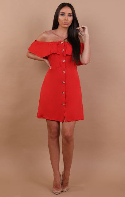 Red Barbot Button Up Tea Dress - Rebecca