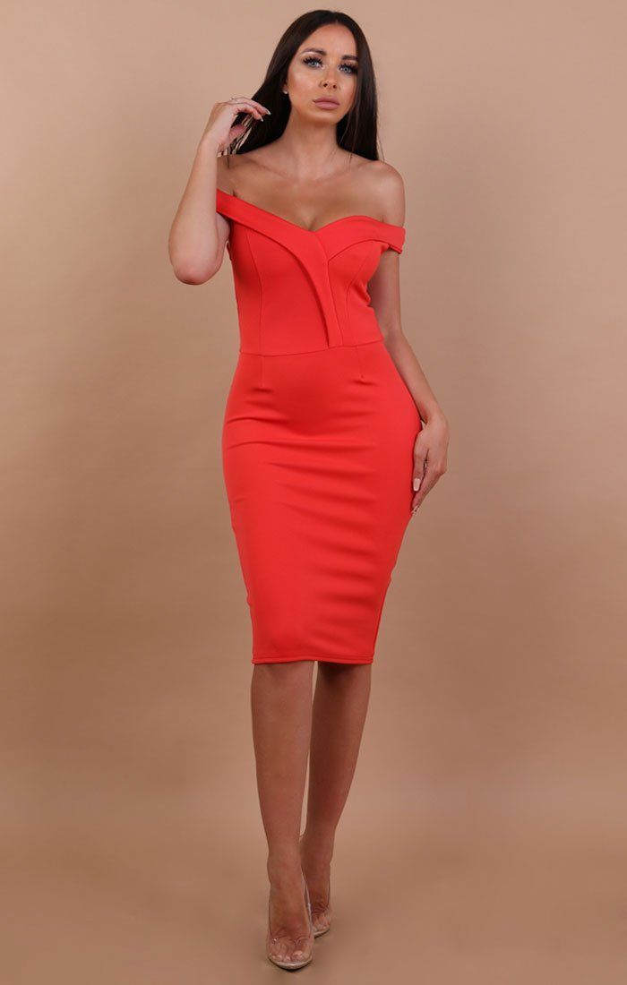 Red Bardot Bodycon Midi Dress - Shannon