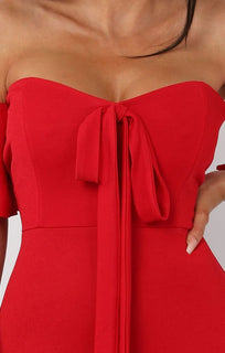 Red Bardot Bow Front Midi Dress - Effie
