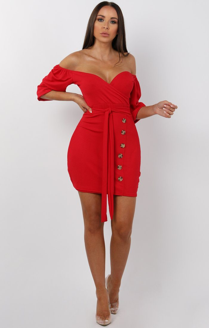 Red Bardot Button Belted Mini Dress - Sandra