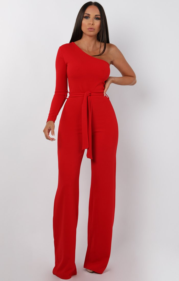 d85e45747 Red Belted One Shoulder Jumpsuit | Jumpsuits | Femme Luxe
