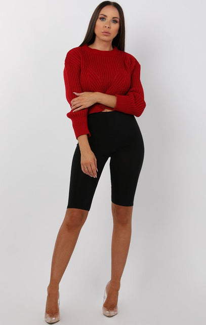 Red Cable Knit Cropped Jumper - Ivy