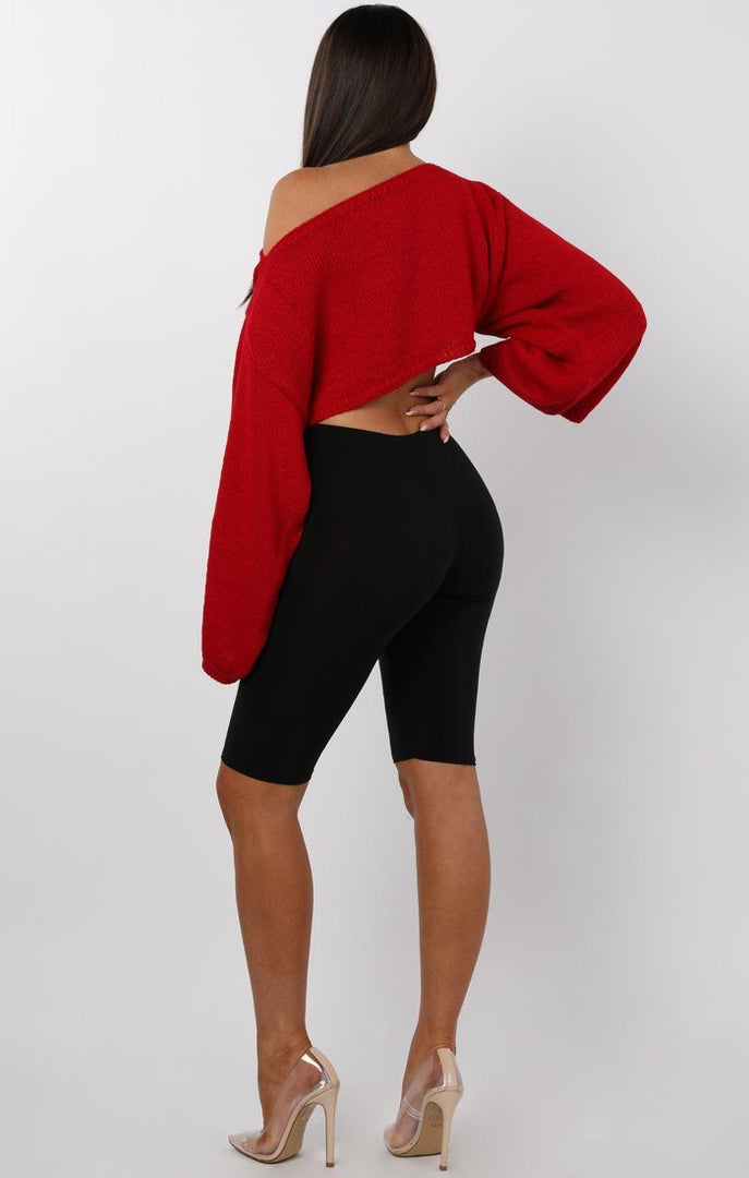Red-Cropped-Flare-sleeve-Knitted-Jumper-Judy