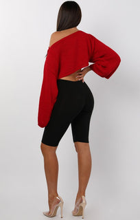 Red Cropped Flare sleeve Knitted Jumper - Judy