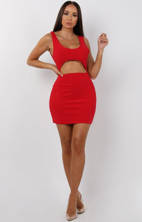 Red Cut Out Bodycon Mini Dress - Olesya
