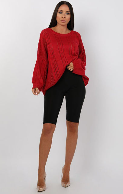 Red Fine Knit Oversized Jumper - Sophie