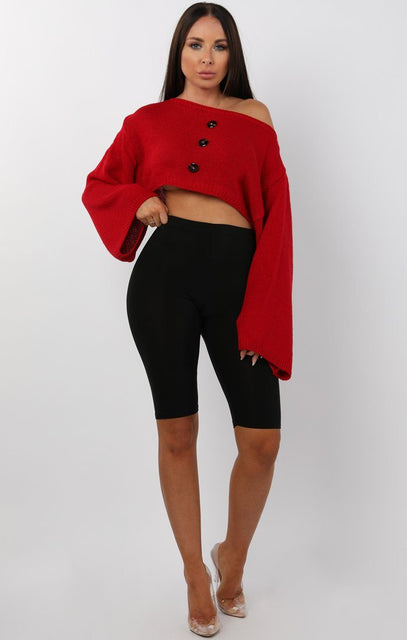 Red Flare Sleeve Button Front Crop Jumper - Sabrina