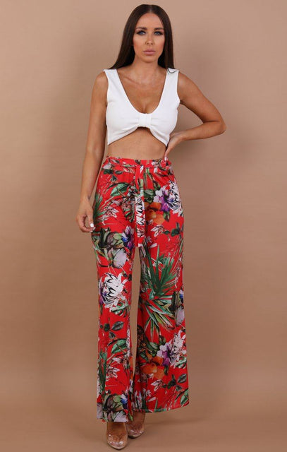 Floral Belted Trousers - Rose