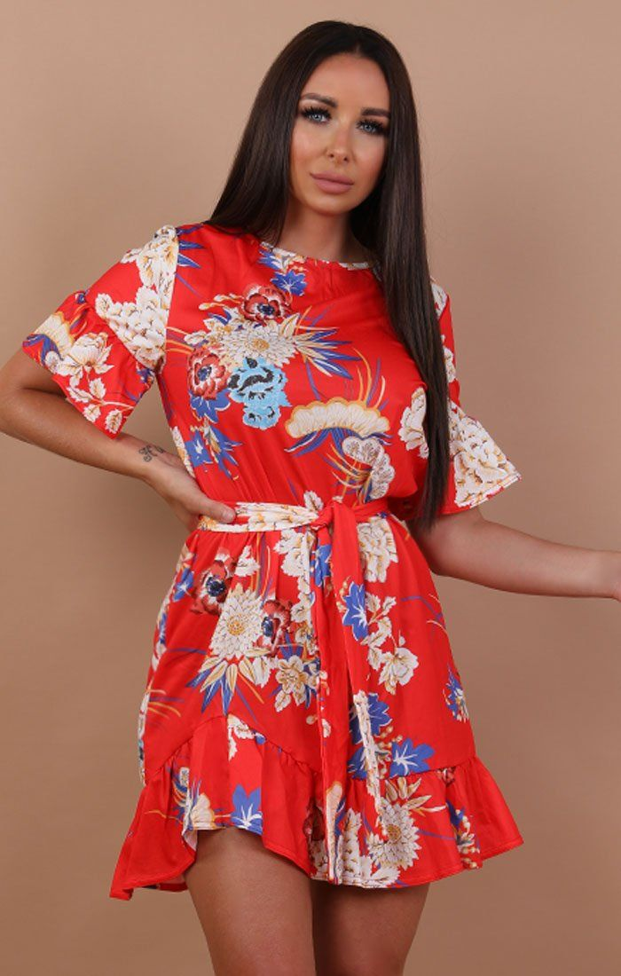 Red Floral Frill Belted Tea Dress - Carly