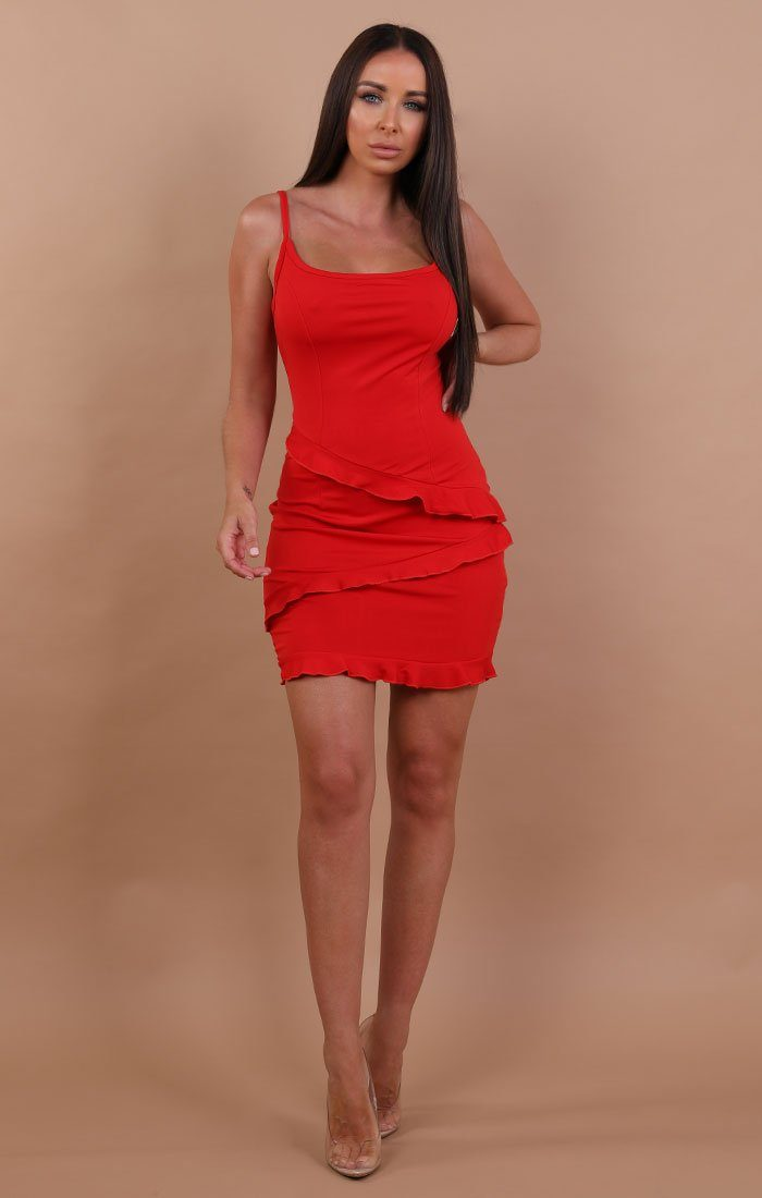 Red Frill Mini Bodycon Dress - Kelly