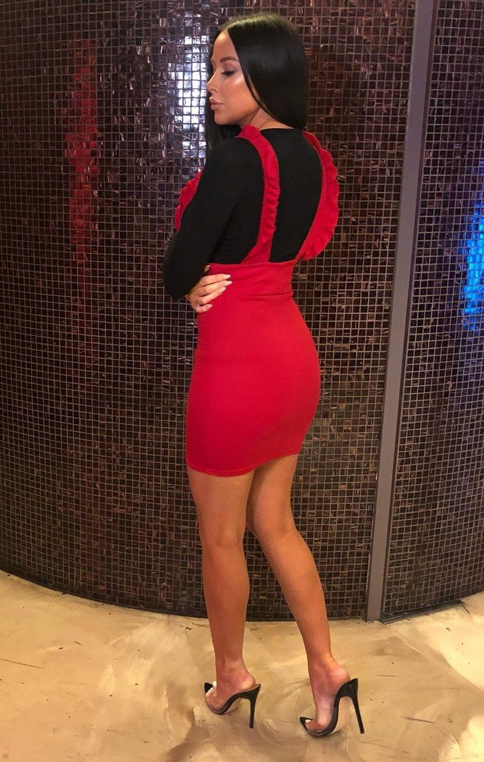 581dc72ee2 Red Frill Pinafore   Dresses   Femme Luxe – FemmeLuxe