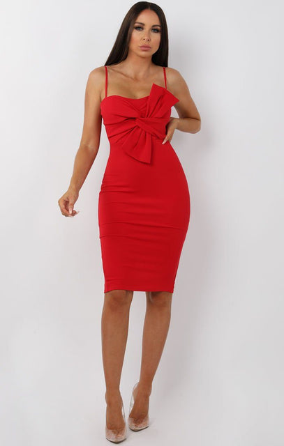 Red Front Twist Bodycon Midi Dress