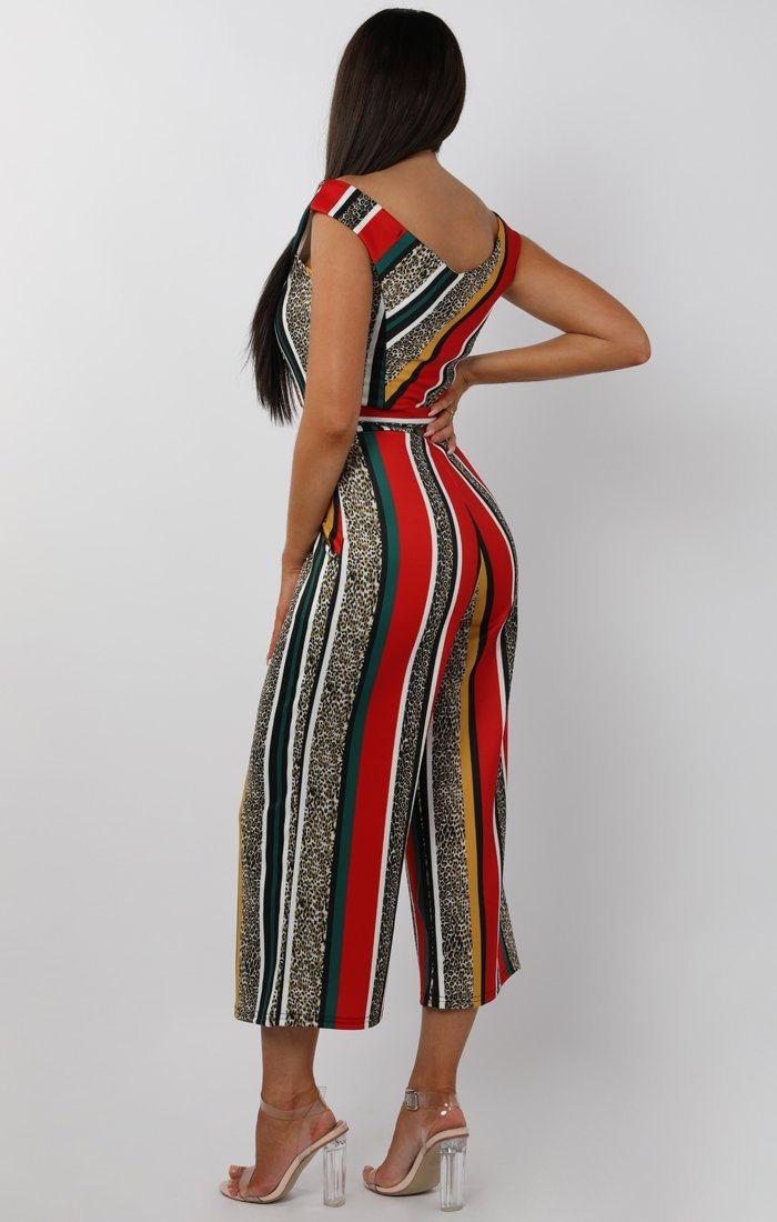 Red Animal Leopard Stripe Belted Bardot Jumpsuit - Nancy