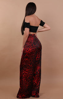 Red Animal Leopard Wide Leg Trousers - Sasha