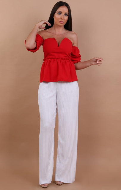 Red Off Shoulder Plunge Top - Beth