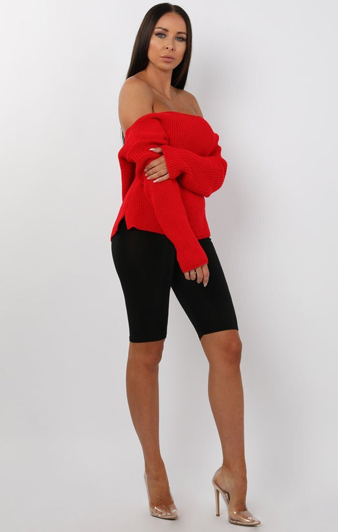 Red Oversized Knit Jumper - Odetta