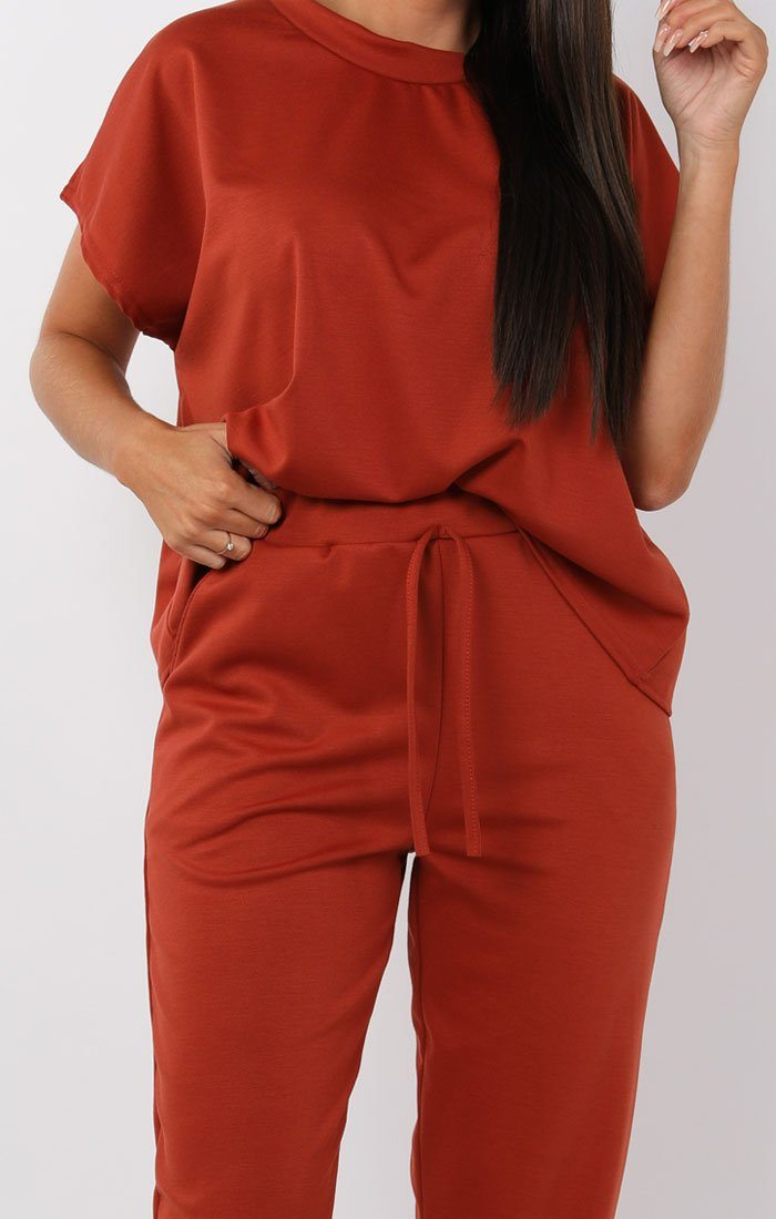 Rust Short Sleeve Boxy Loungewear Set - Lacy