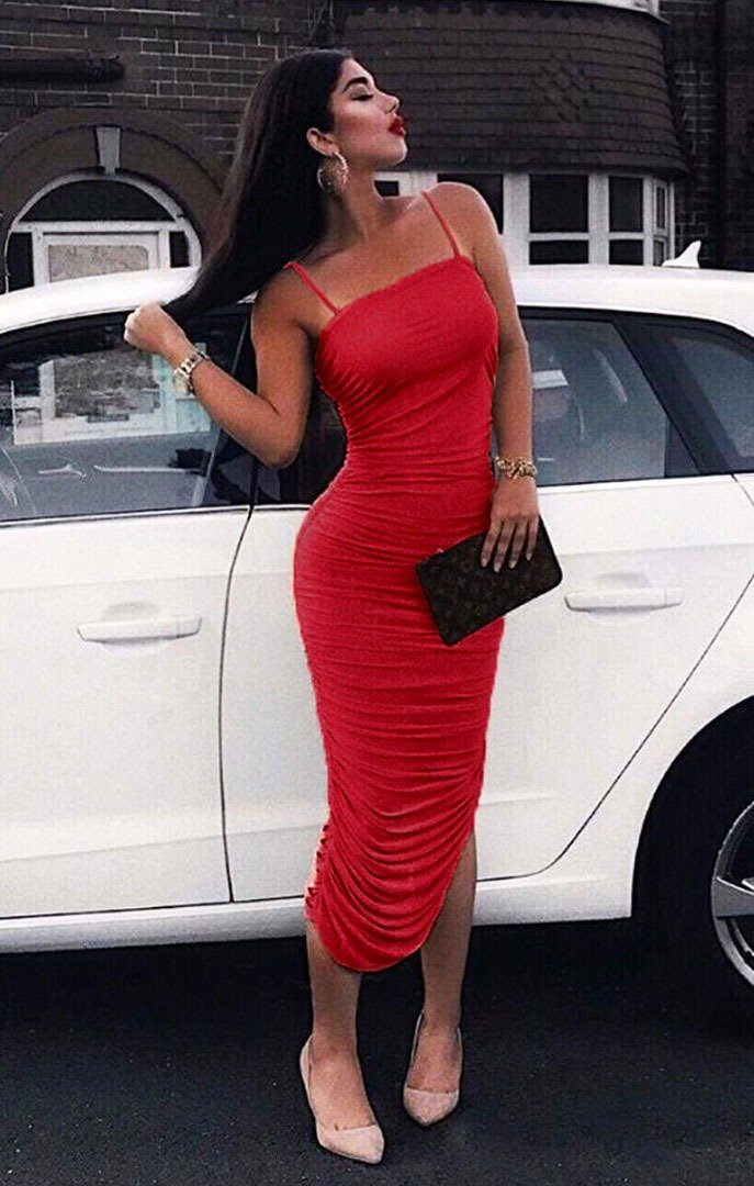 Red Slinky Ruched Split Leg Maxi Dress - Mariah dresses FemmeLuxe