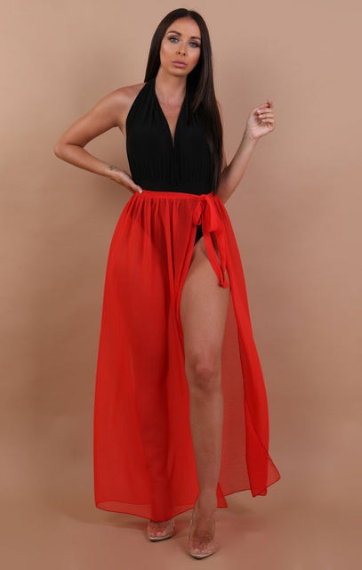 Red Split Leg Mesh Maxi High Waist Skirt - Sinead