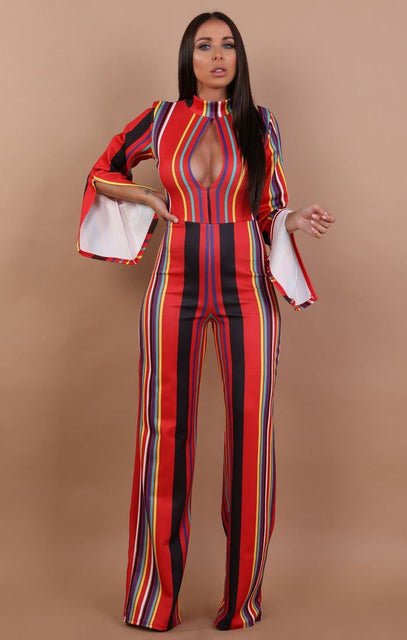 Red Striped Split Sleeve Keyhole Jumpsuit - Lauren