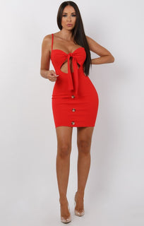Red Tie Front Button Mini Dress - Erin