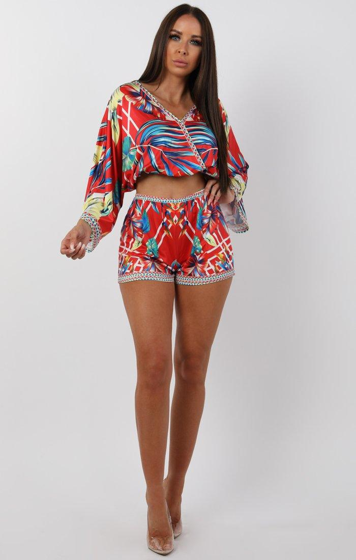 Red Tropical Two Piece Co-ord Set - Naomi
