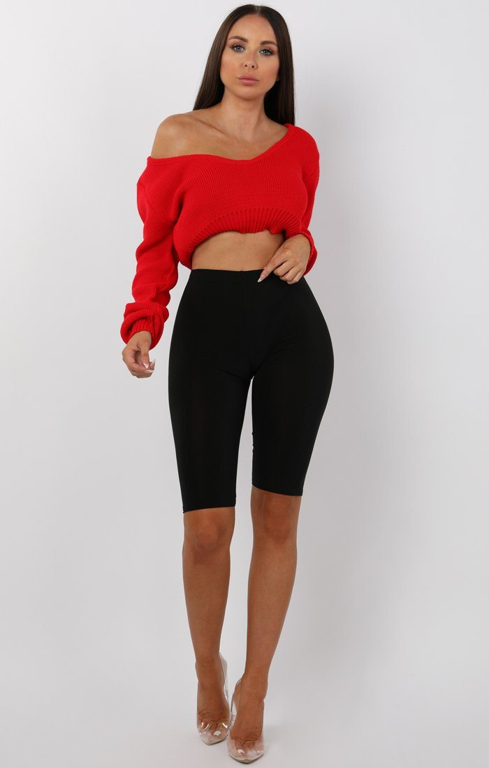 Red V-Neck Cropped Jumper - Cordelia