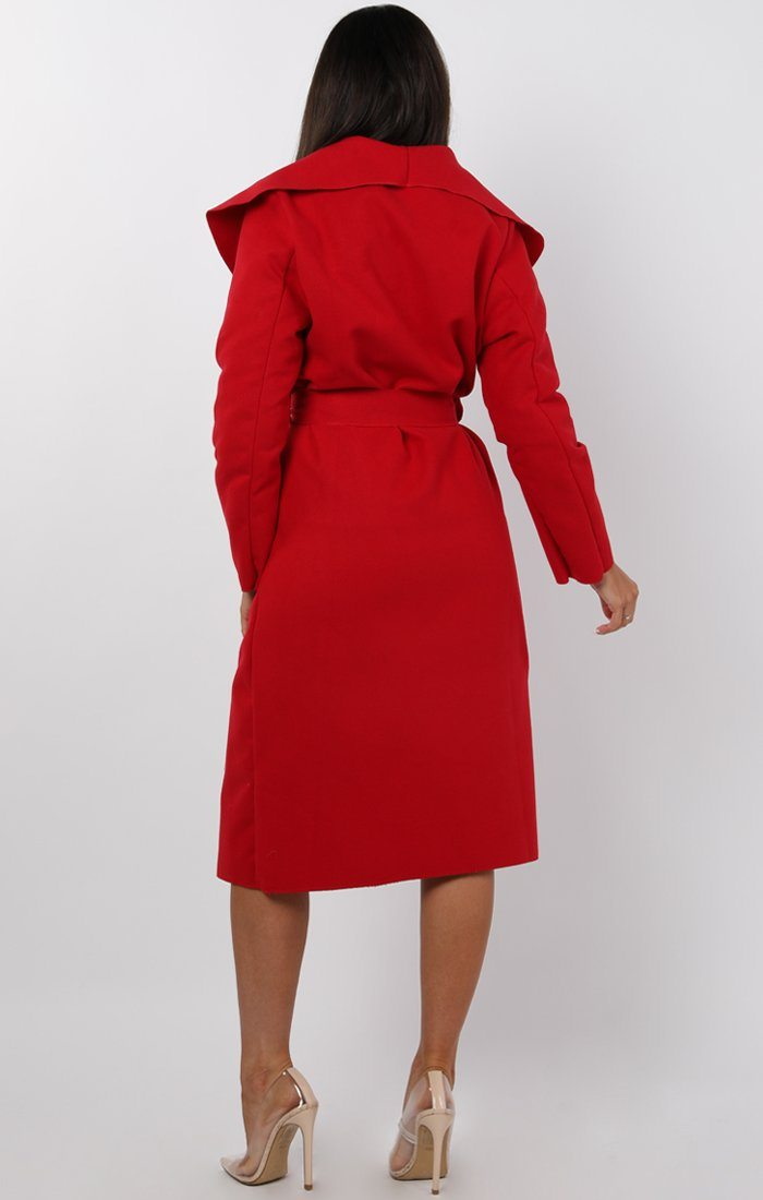 Red Waterfall Duster Belted Long Coat