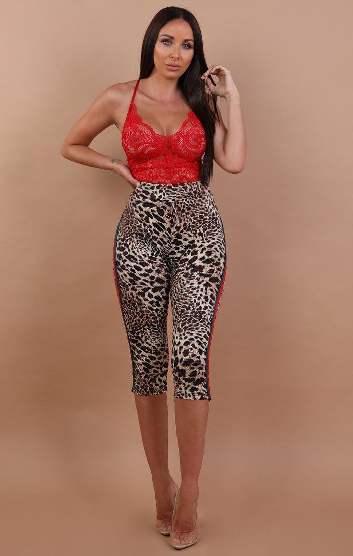 Red and Green Stripe Cropped Animal Leopard Print Leggings - Rea