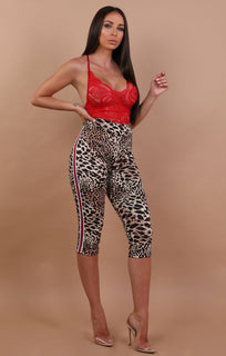 Red and white Stripe Cropped Animal Leopard Print Leggings - Rea