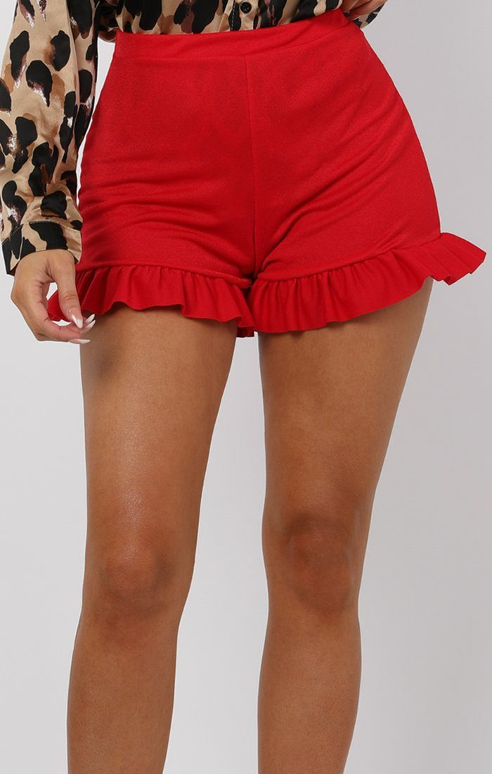 Red high Waisted Frill Trim Shorts - Muna
