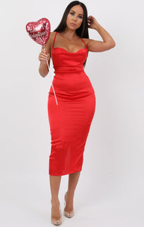 Red Satin Cowl Neck Bodycon Midi Dress - Clarence