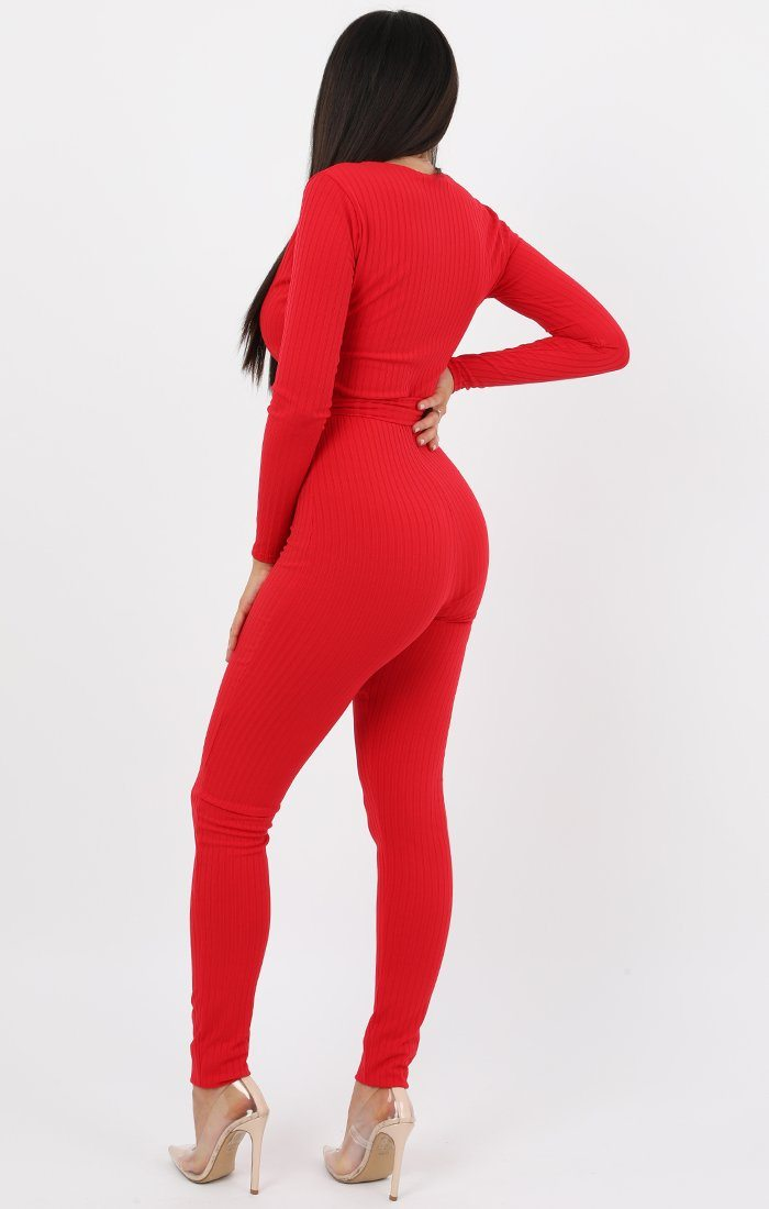 Red Slim Belted Jumpsuit - Teagan