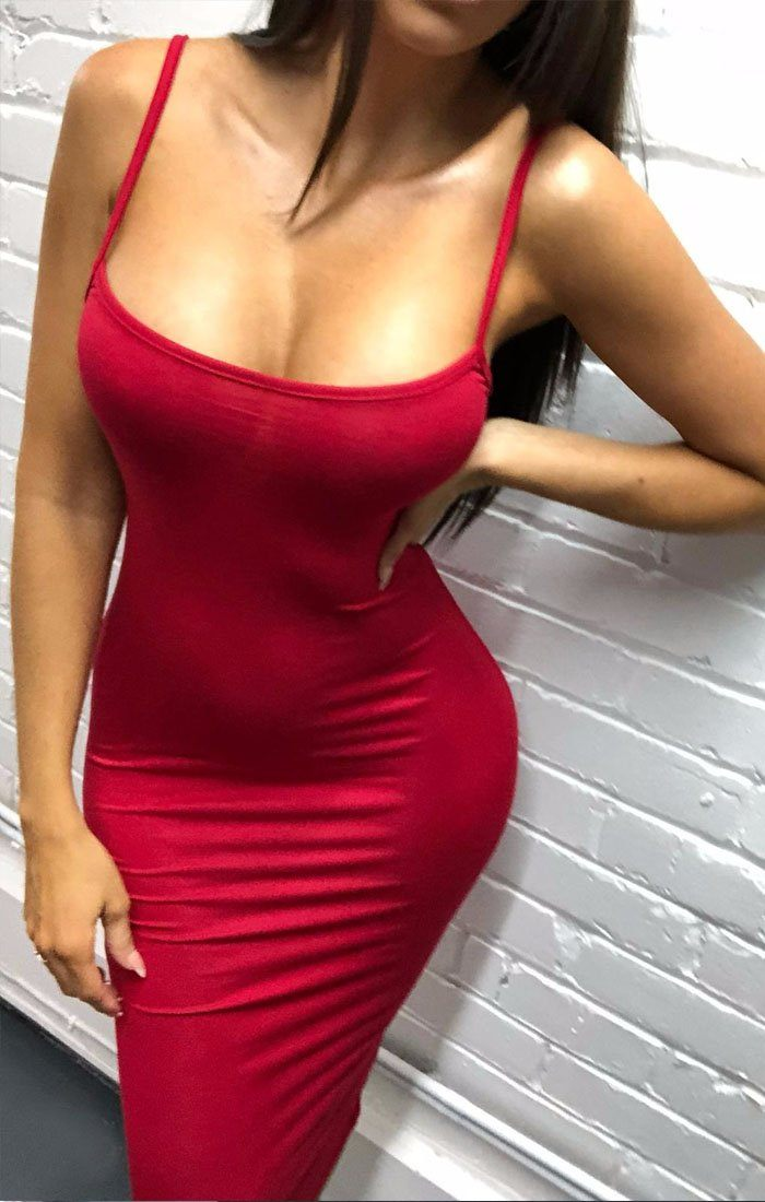 Red Strappy Bodycon Midi Dress - Poppy