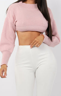 Rose Cropped Knitted Jumper - Miah