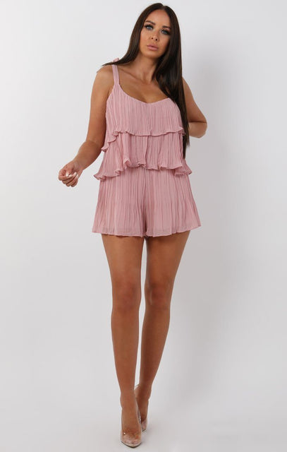 Rose Pleated Ruffle Shorts Two Piece Co-ord Set - Kate