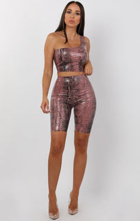Rose Animal Snake Print Pu One Shoulder Crop Top - Keeley