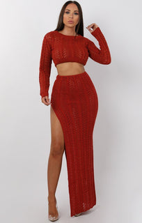 Rust Crochet Long Sleeve Crop Top - Natasha