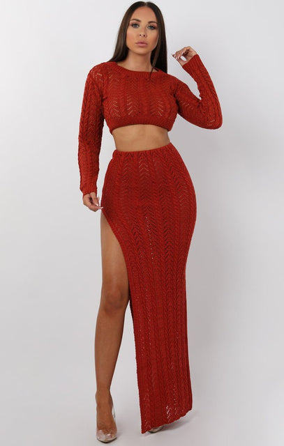 Rust Crochet Split Leg Maxi High Waist Skirt - Robin
