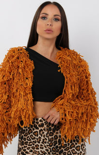 Mustard Cropped Shaggy Jacket - Avril